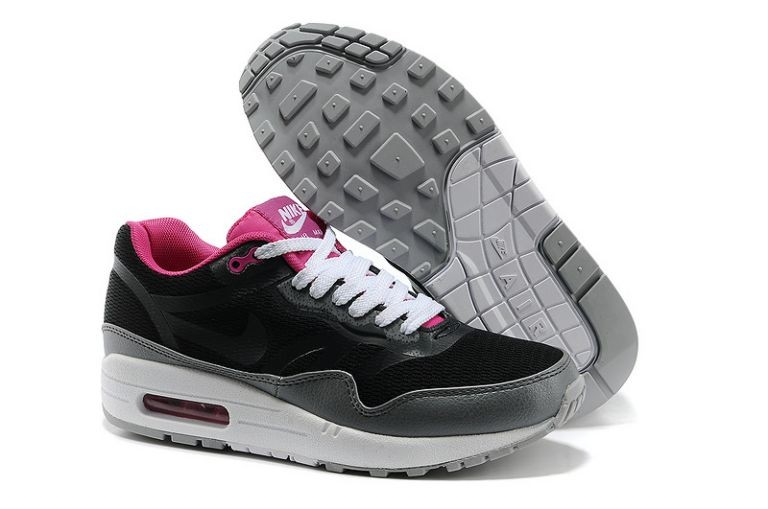 Nike Air Max 1 Premium Tape Women's Running Shoes Black Cool Grey Club Pink Sail